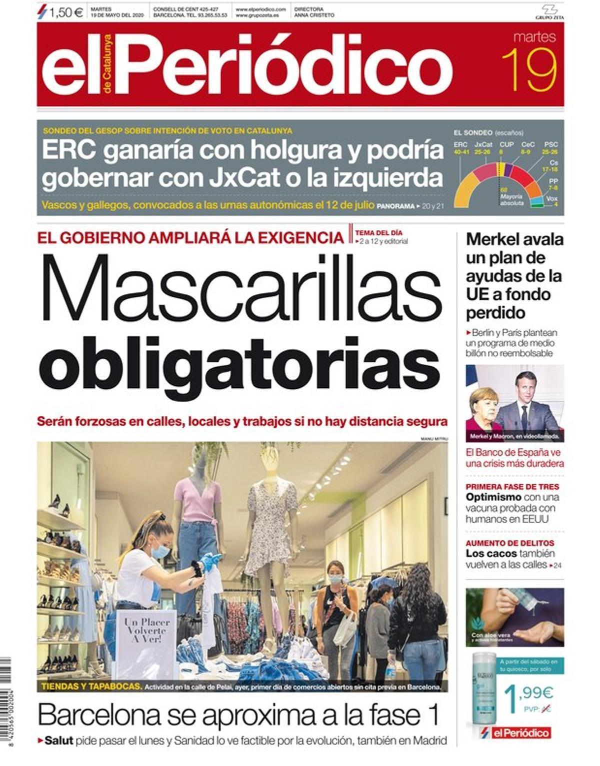 La portada de EL PERIÓDICO del 19 de mayo del 2020