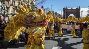 Celebración del Año Nuevo Chino 2016 en Barcelona.