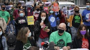 Rueda de prensa del movimiento en defensa de vivienda, este miércoles.