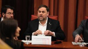 Oriol Junqueras declara ante la comisión de investigación de la cámara catalana sobre la aplicación del artículo 155 de la Constitución
