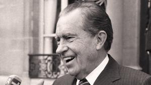 File of former US President Richard Nixon speaking at the Elysee Presidential Palace in Paris