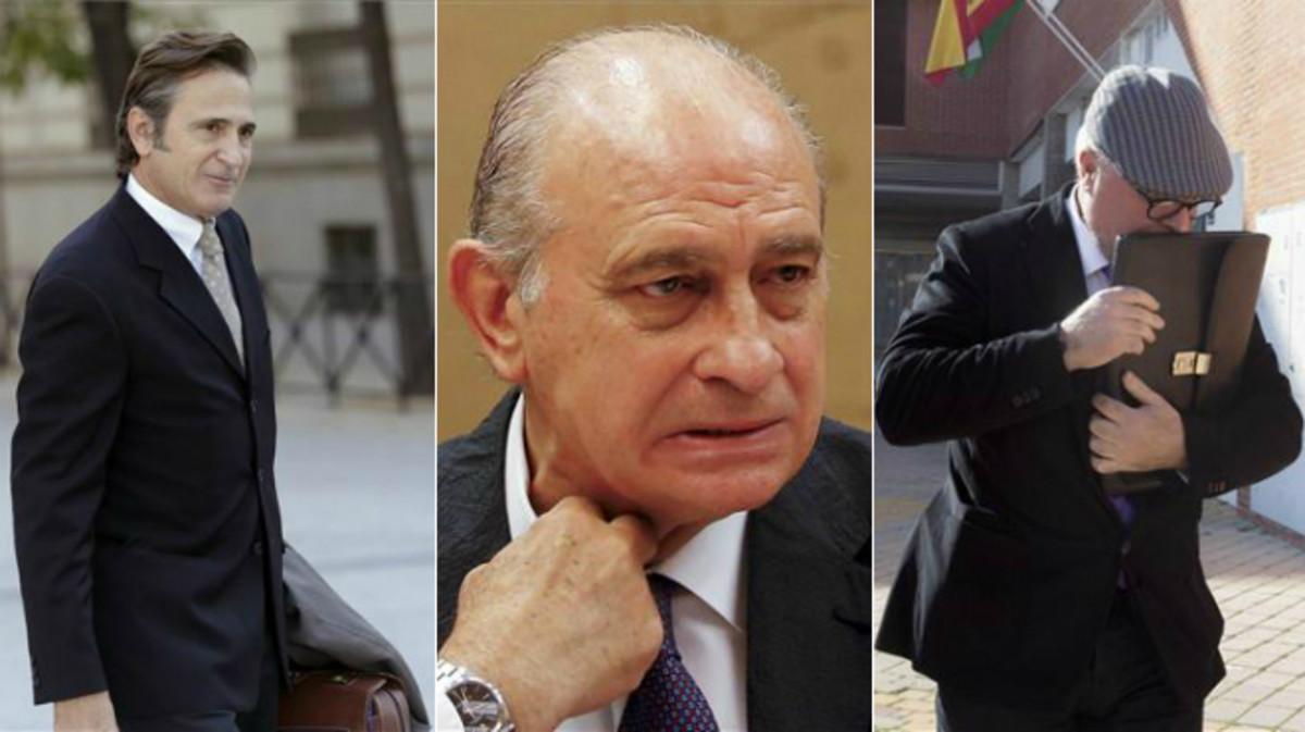 Josep Pujol Ferrusola, Jorge Fernández Díaz y el comisario José Villarejo, exnúmero dos de la Policía.