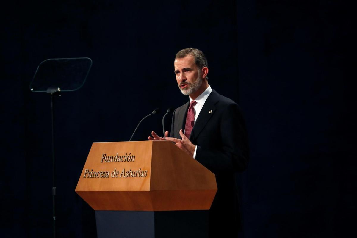 El rey Felipe VI, durante la ceremonia de los Premios Princesa de Asturias.