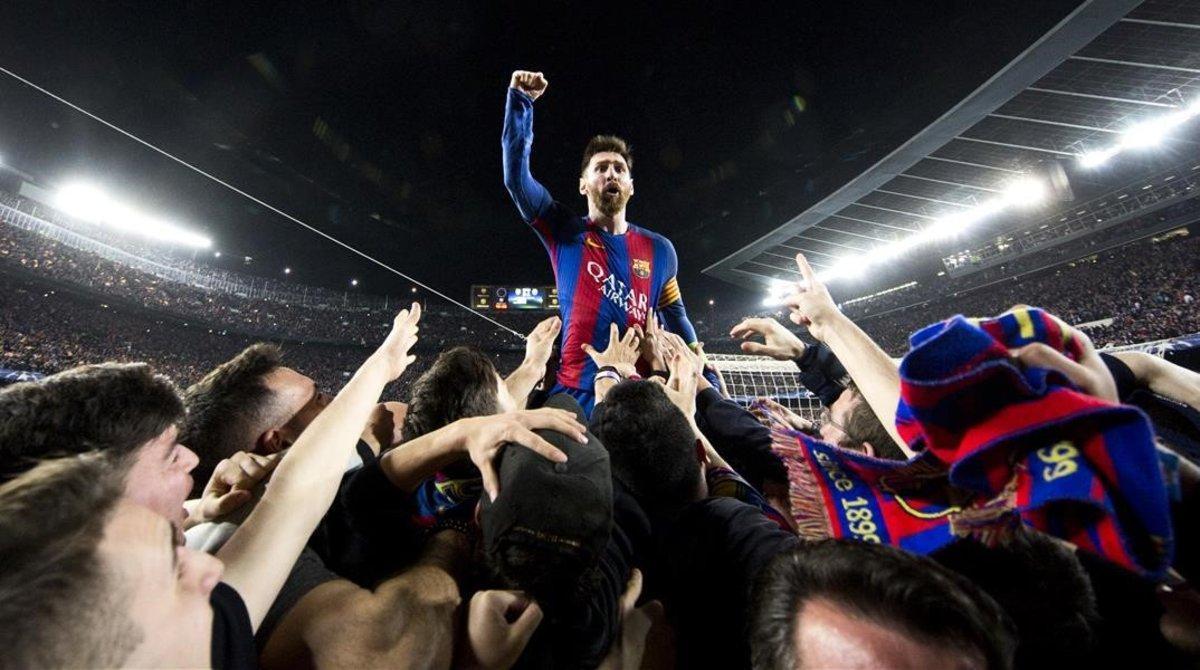 Leo Messi celebra, en marzo del 2017, la victoria sobre el PSG.