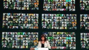Laura Borràs, en un acto de campaña de JxCat