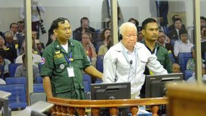 Khieu Samphan mientras esperaba el veredicto de culpabilidad.