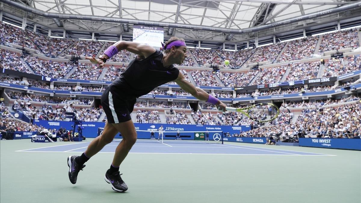 Rafa Nadal, durante la final ante Daniil Medvedev del US Open del 2019 en el centro tenístico de Flushing Meadows.
