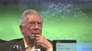 El Nobel Mario Vargas Llosa, en Madrid, durante la presentación de 'La llamada de la tribu'.