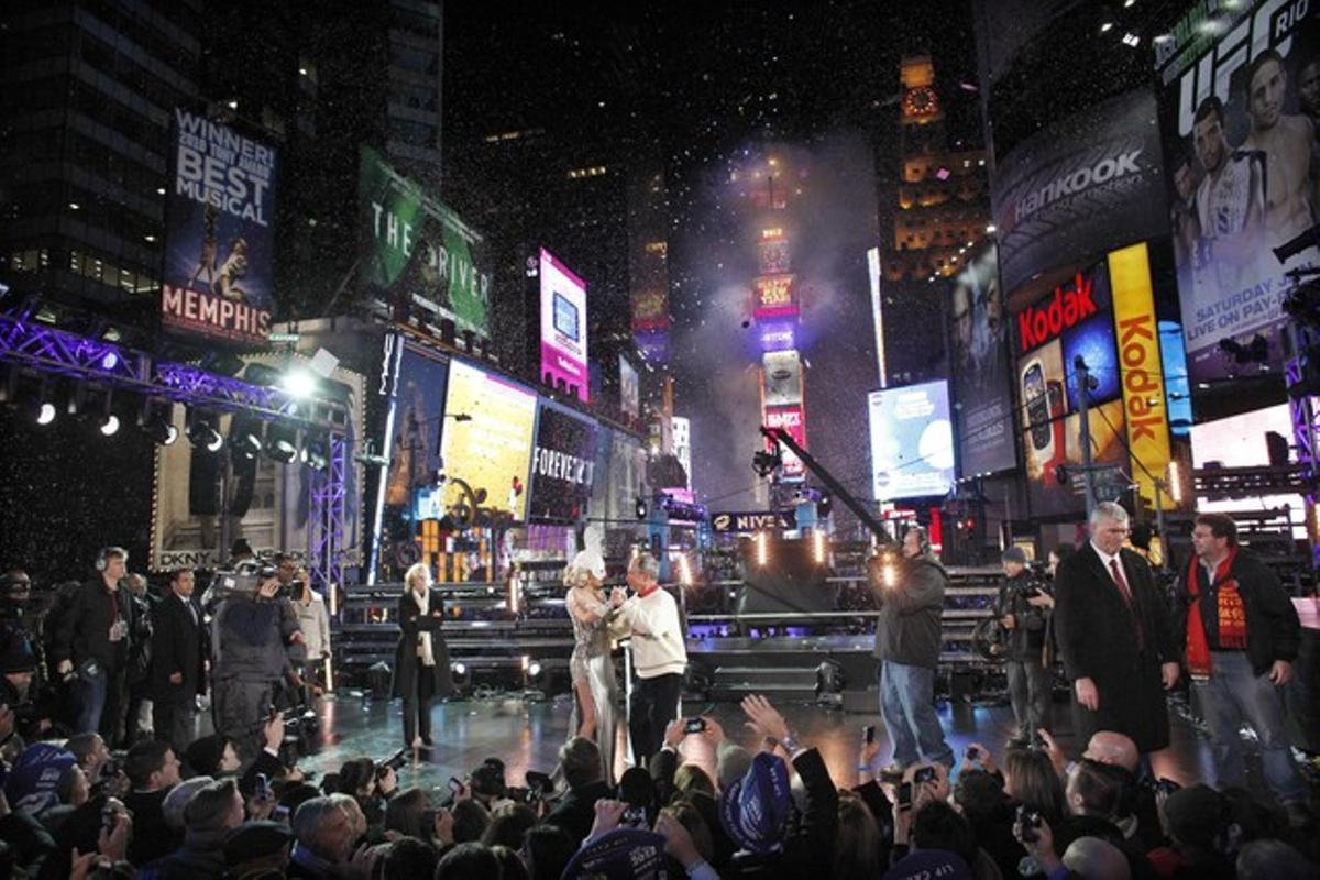 Imagen de archivo de la celebración de fin de año que se celebra en Times Square.