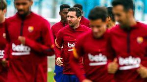 Messi, en el entrenamiento realizado este miércoles en la ciudad deportiva de Sant Joan Despí.