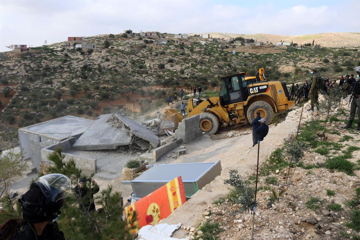 Demolición de una vivienda palestina en Cisjordania.