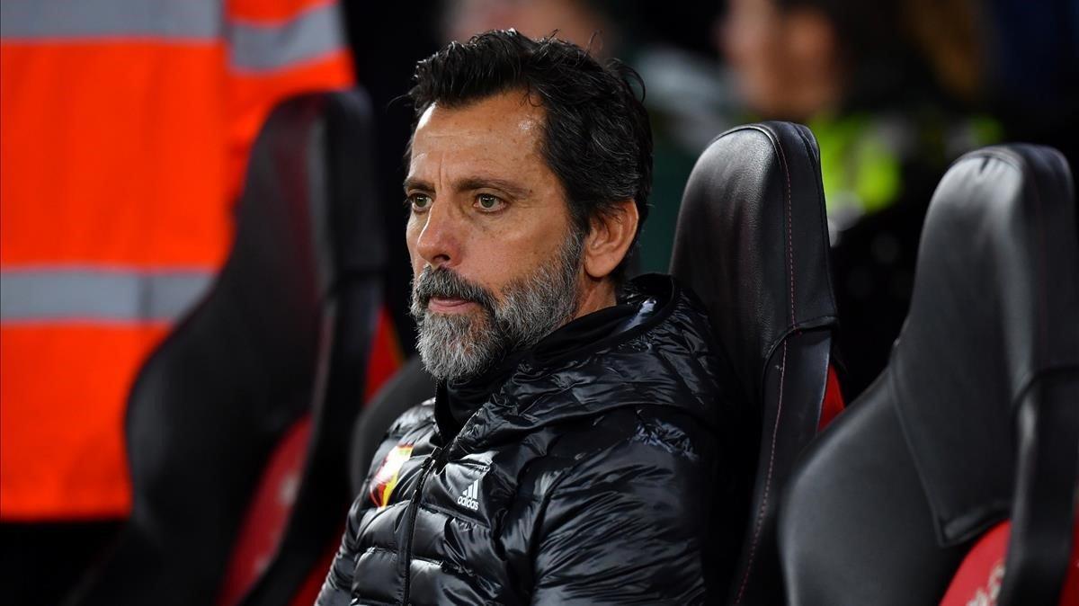 Quique Sánchez Flores, en su último partido con el Watford, enSouthampton.