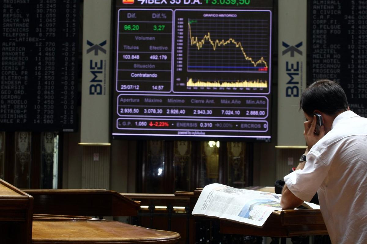 La Bolsa de Madrid en la sesión de este viernes.