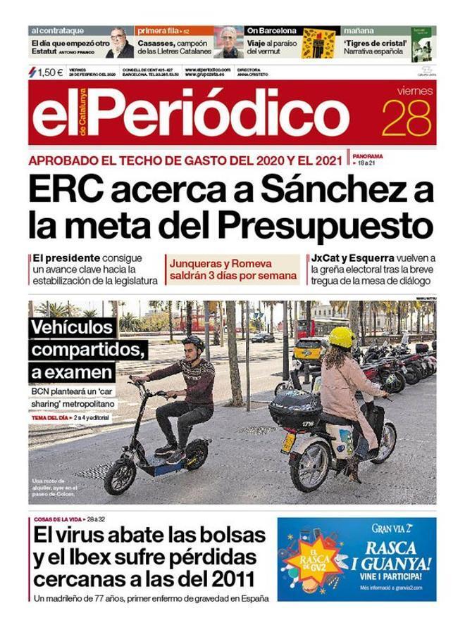 La portada de EL PERIÓDICO del 28 de febrero del 2020.