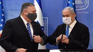 Pompeo y Netanyahu, este lunes en Jerusalén.