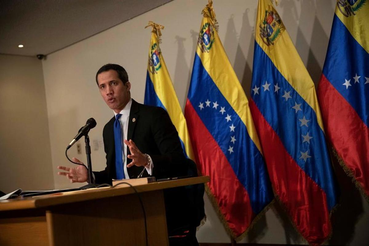 Juan Guaidó, durante una rueda de prensa el pasado sábado.