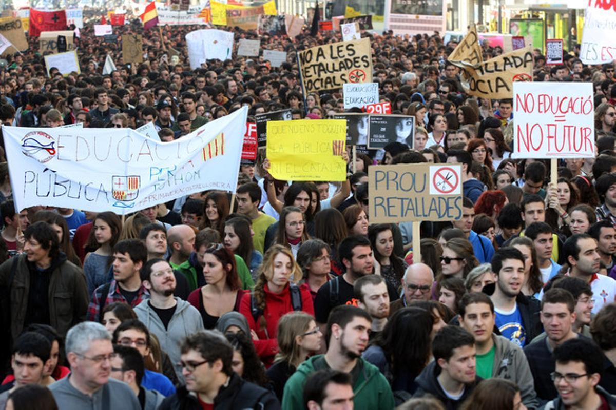 Manifestación de estudiantes contra los recortes en educación, el pasado 29 de febrero, en Barcelona.