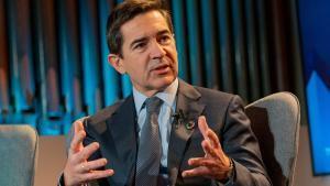 El presidente ejecutivo del Grupo BBVA, Carlos Torres Vila, durante un debate en Davos.