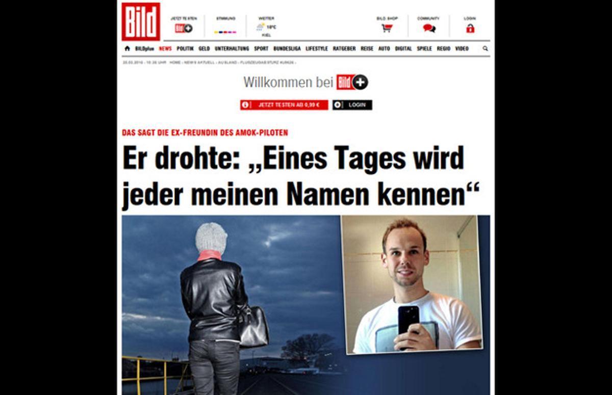 Las declaraciones de la exnovia de Andreas Lubitz, en el diario alemán 'Bild'.