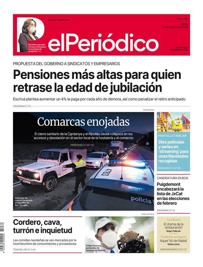 La portada de EL PERIÓDICO del 24 de diciembre del 2020