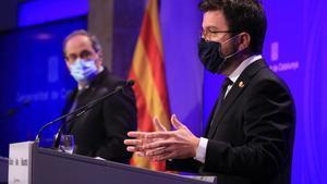 Rueda de prensa de Quim Torra y Pere Aragonés para anunciar las nuevas medidas económicas de la Generalitat.