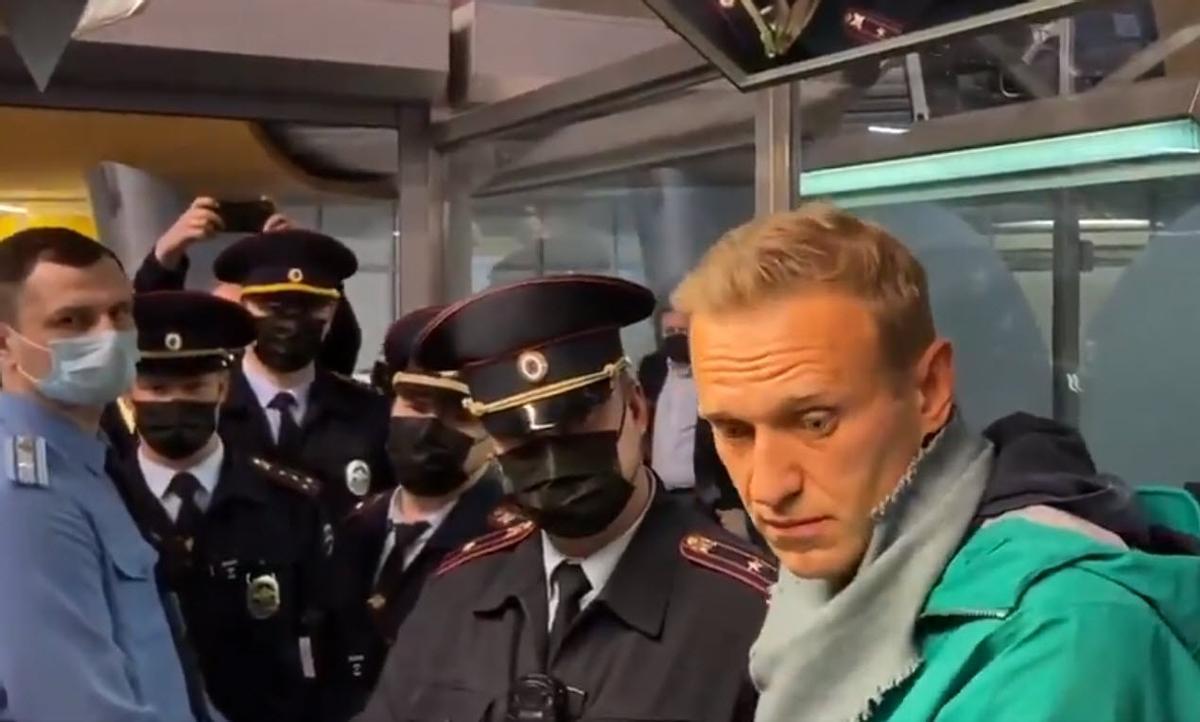 Alexei Navalni el pasado mes de enero cuando fue detenido tras llegar a Moscú.