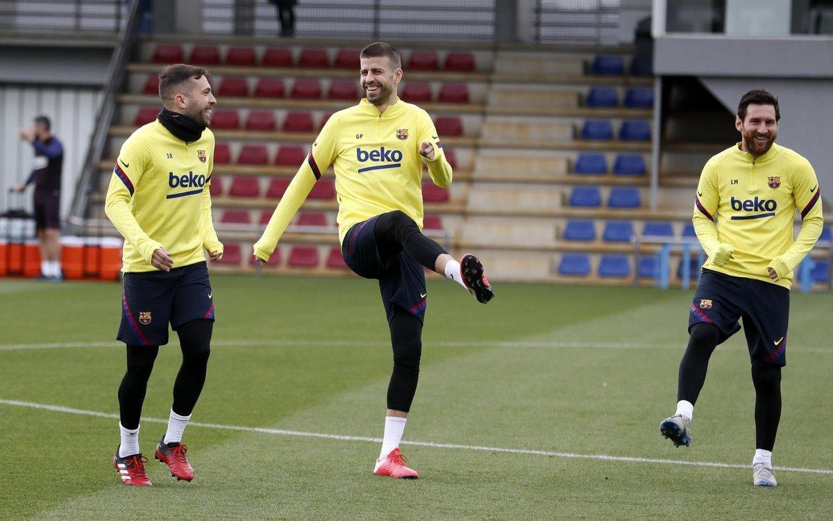 Imagen de un entrenamiento del Barcelona en el mes de febrero.