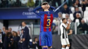 Piqué se lamenta tras un error contra la Juventus.
