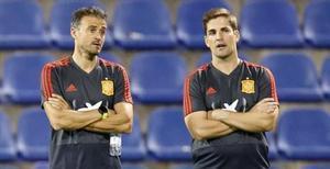 Luis Enrique y Robert Moreno, cuando coincidieron al frente dela selección española.