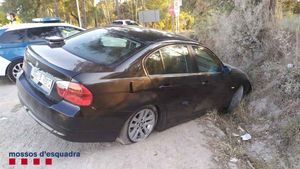 El coche accidentado en Caldes de Malavella.