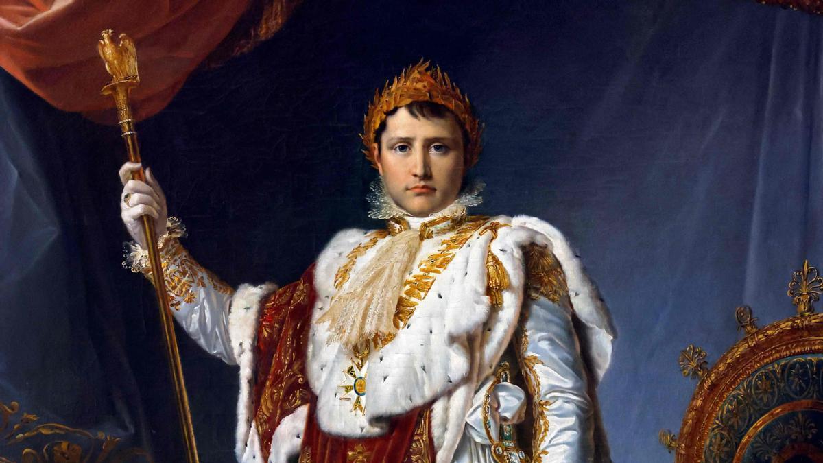 Retrato oficial del emperador Napoleón Bonaparte, pintado por Francois Gerard, que puede verse en el Palacio de Fontainebleau.