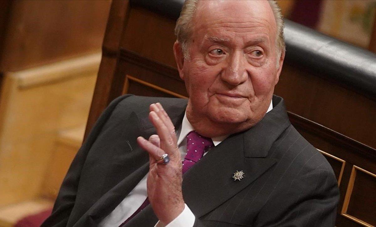 Juan Carlos I en el acto de conmemoración del Día de la Constitución, en 2018.