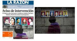 La portada de 'La Razón', junto a la foto original, en una imagen publicada por Emilio Morenatti en su Twitter.