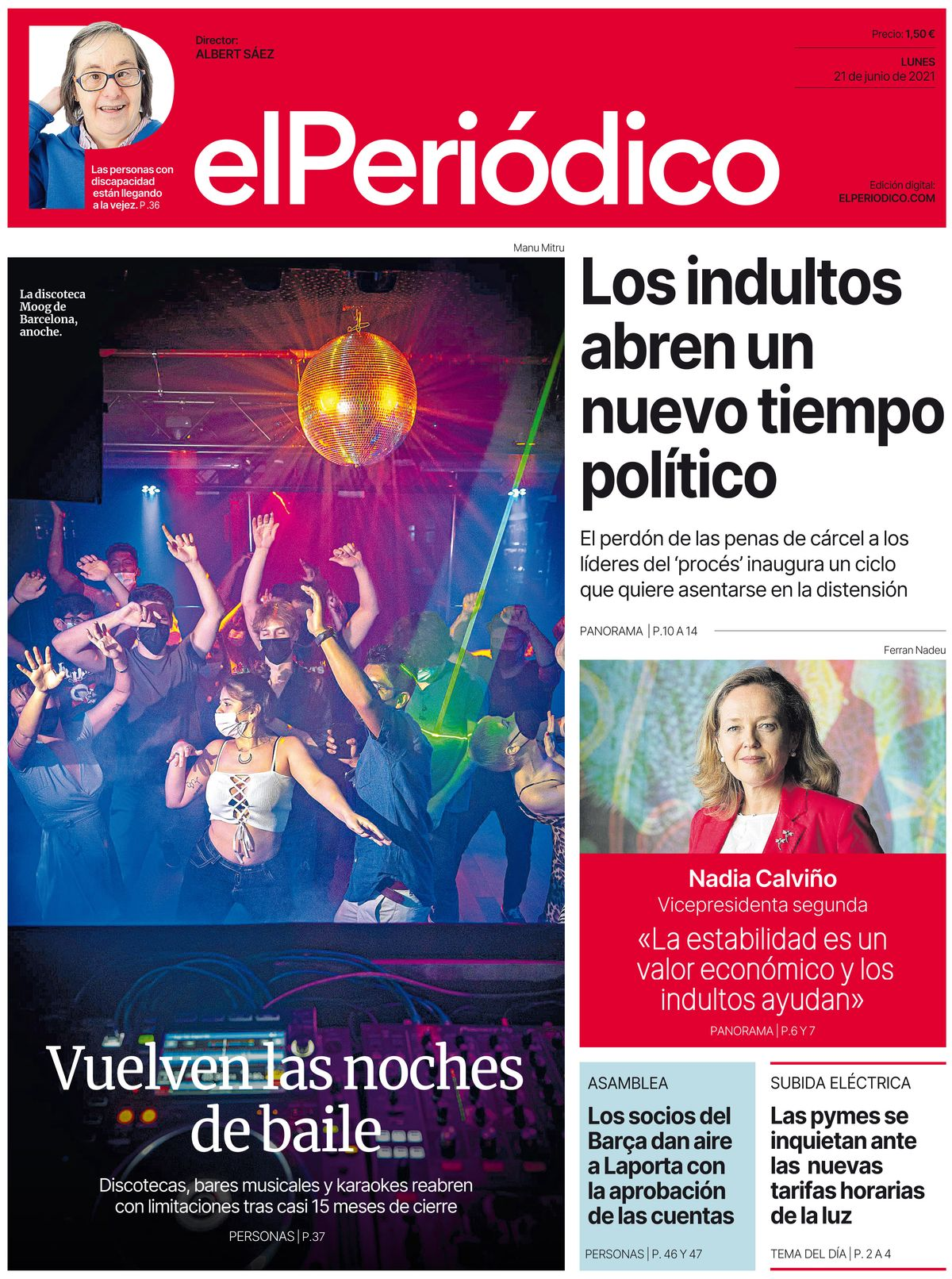 La portada de EL PERIÓDICO del 21 de junio de 2021