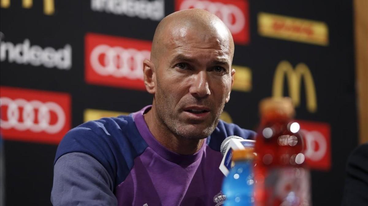 Zinedine Zidane, durante la rueda de prensa posterior al partido contrra el Bayern.