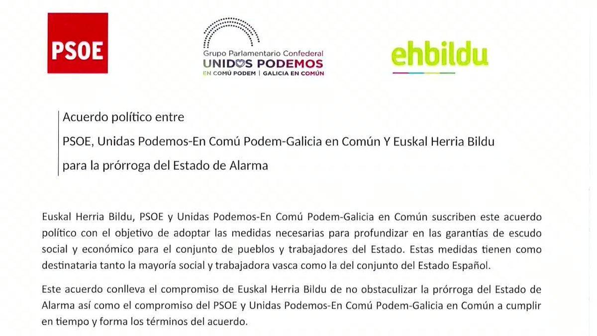 EH-Bildu ha asegurado hoy que ha alcanzado un acuerdo con el PSOE y Unidas Podemos para derogar la reforma laboral de 2012 de forma íntegra a cambio de no obstaculizar la prórroga del estado de alarma.
