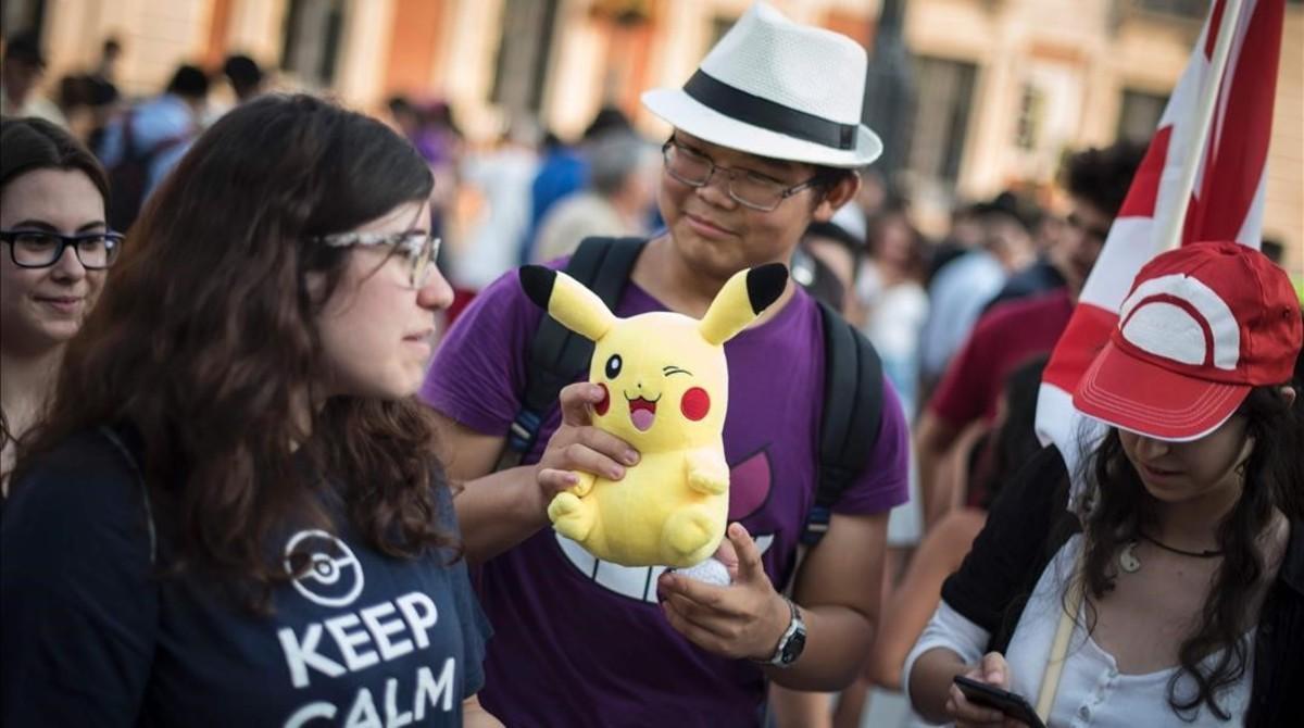 Encuentro de usuarios de Pokemon Go en Madrid, la semana pasada.
