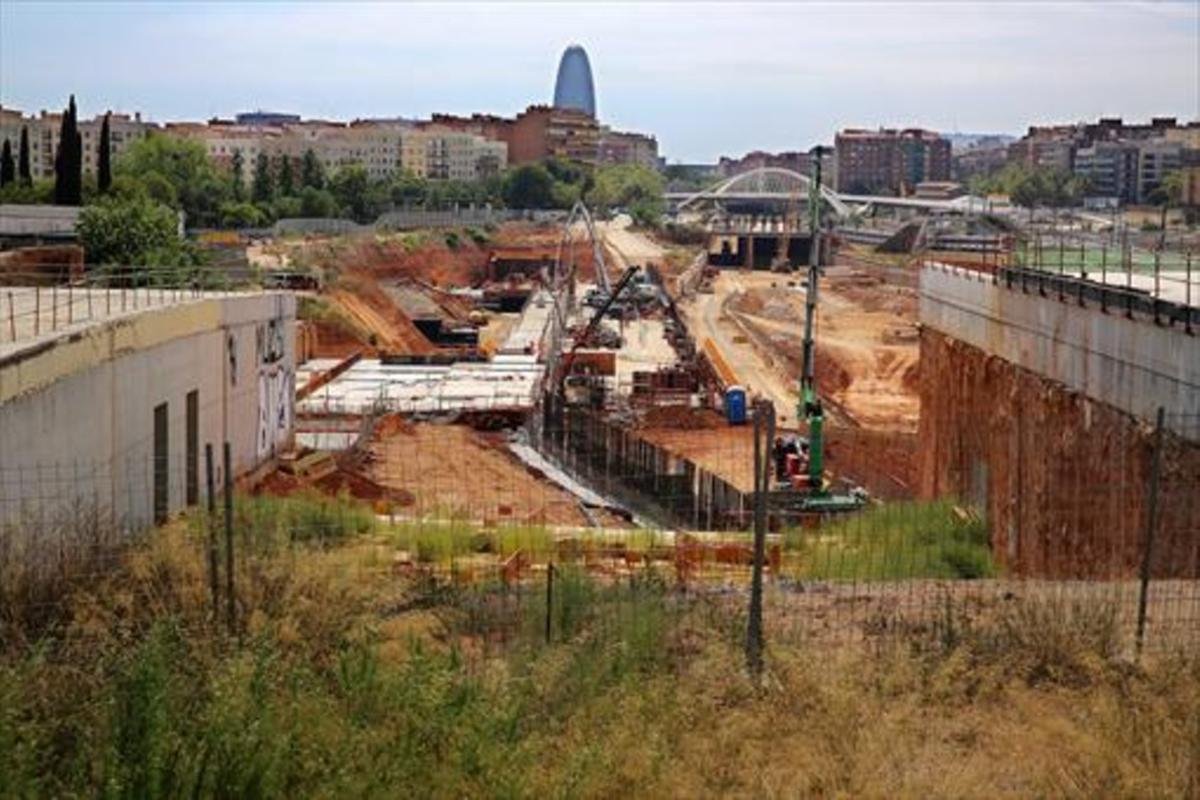 Vista de las obras de la estación del AVE de la Sagrera, en diciembre del 2014.