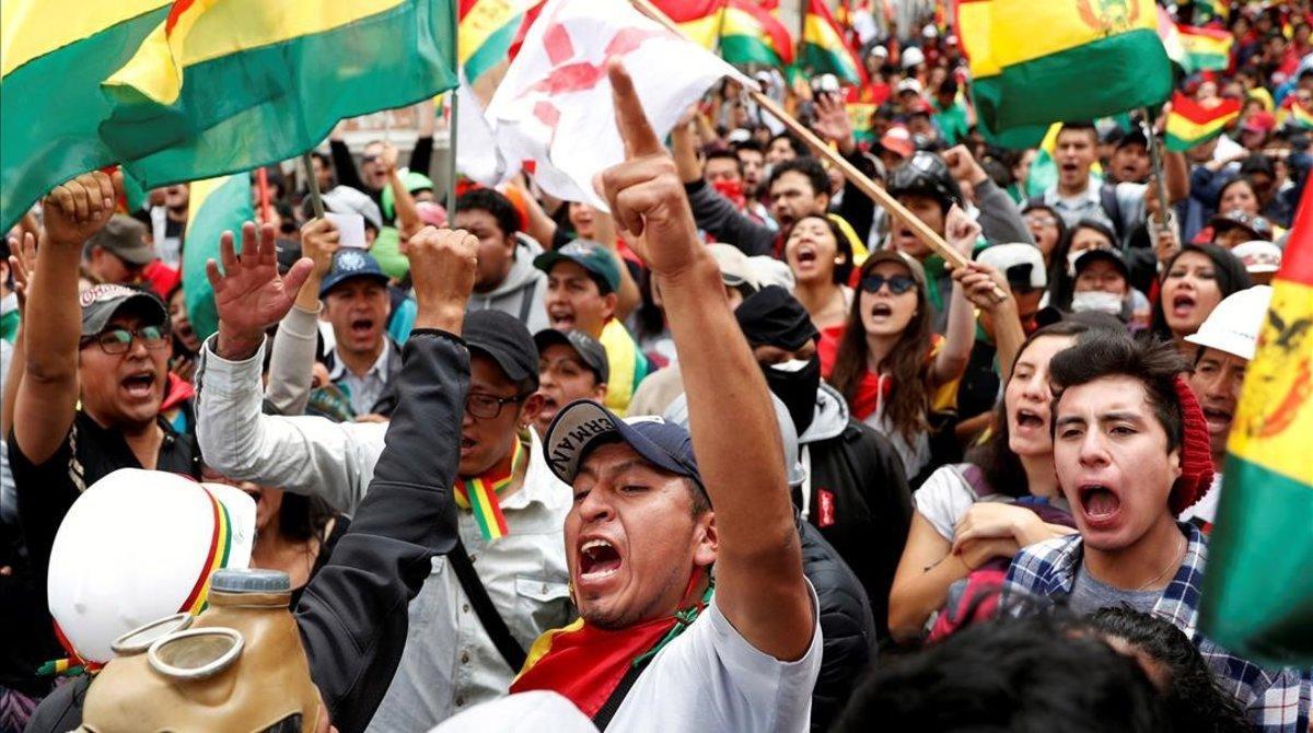 Protestas contra Evo Morales en Bolivia este domingo.