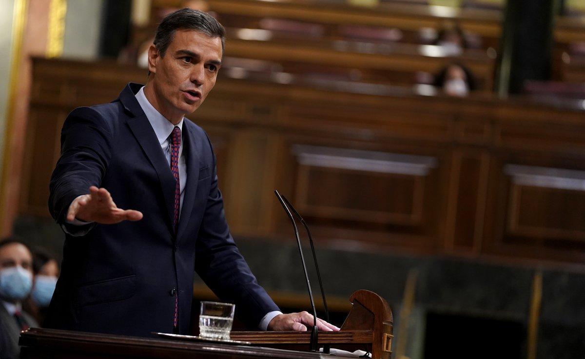 El presidente del Gobierno, Pedro Sánchez, durante su turno de cierre de la moción de censura de Vox, el pasado22 de octubre en el Congreso.