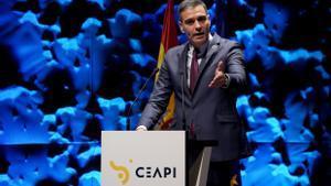 El presidente del Gobierno, Pedro Sánchez, durante la inauguración del IV Congreso Iberoamericano del Consejo Empresarial Alianza por Iberoamérica (CEAPI), este 17 de mayo en Madrid.