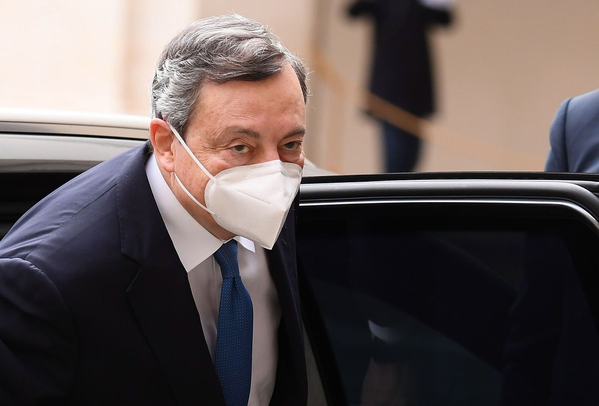 El expresidente del BCE Mario Draghi, a su llegada, este miércoles, al palacio del Quirinale.