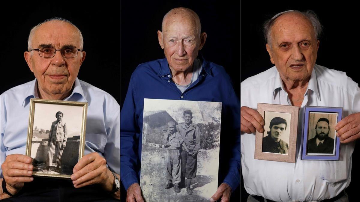 Menahem Haberman con una foto de él mimso después de la guerra,Danny Chanoch, muestra una imagen suya con su hermano mayorUri, también una vez acabada la contienda bélicayDov Landau sostiene una fotografía de sus padres que fueron asesinados por los nazis.