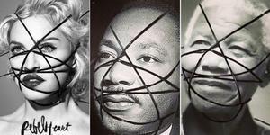 Montaje de la portada del disco de Madonna y las fotos manipuladas de Luther King y Mandela.