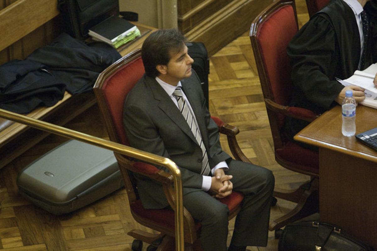 Corominas, el yerno de los Tous, en la Audiencia de Barcelona durante una de las sesiones del juicio.