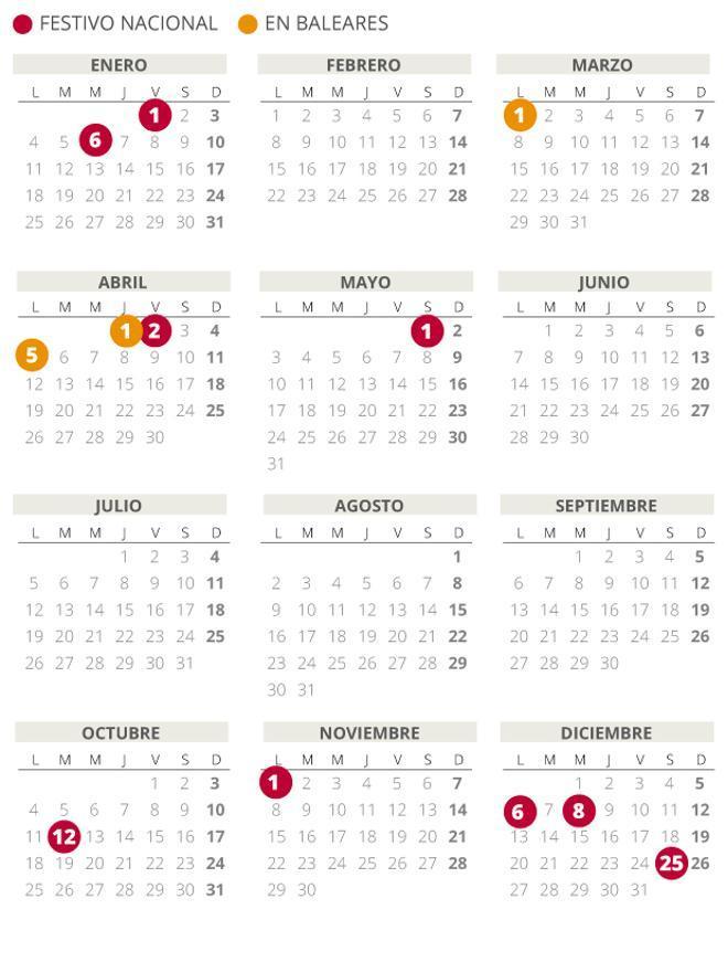 Calendario laboral de Baleares del 2021.