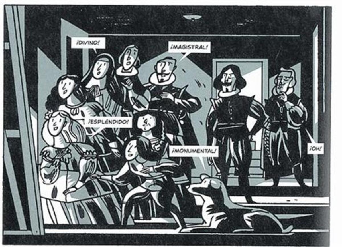Viñeta de 'Las Meninas' y página donde Velázquez increpa a Felipe IV.