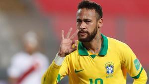 Neymar celebrando un gol con la selección de Brasil /AFP