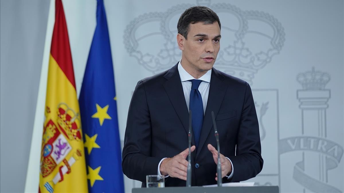 Pedro Sánchez, en la Moncloa, este miércoles.