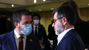 Pere Aragonès y Jordi Sànchez, el pasado 23 de marzo.